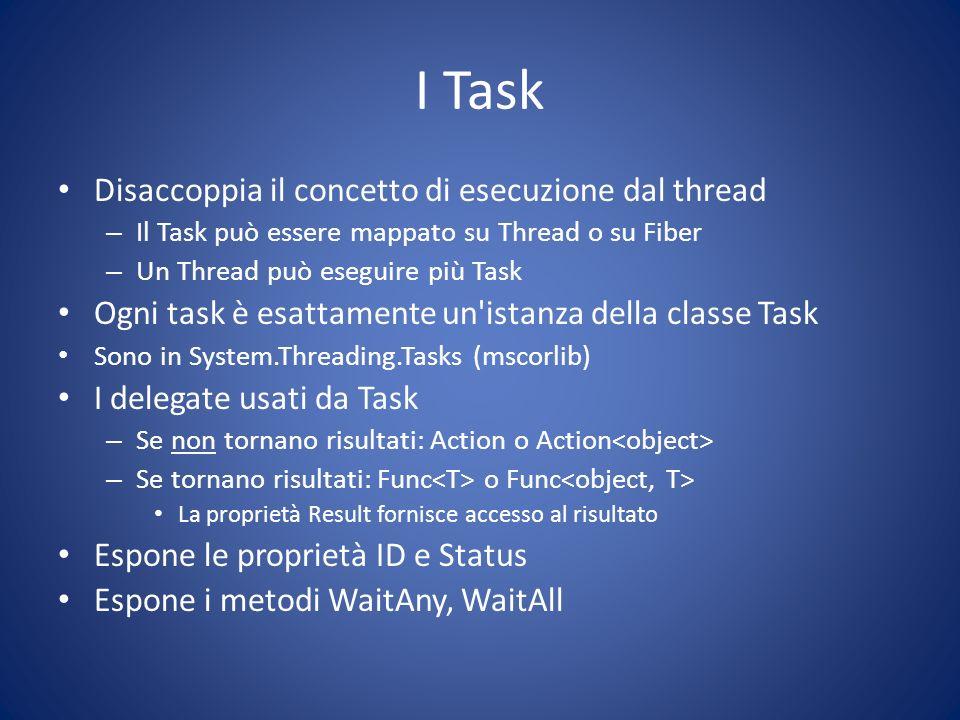 I Task Disaccoppia il concetto di esecuzione dal thread – Il Task può essere mappato su Thread o su Fiber – Un Thread può eseguire più Task Ogni task