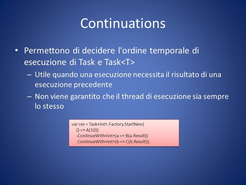 Continuations Permettono di decidere l'ordine temporale di esecuzione di Task e Task – Utile quando una esecuzione necessita il risultato di una esecu