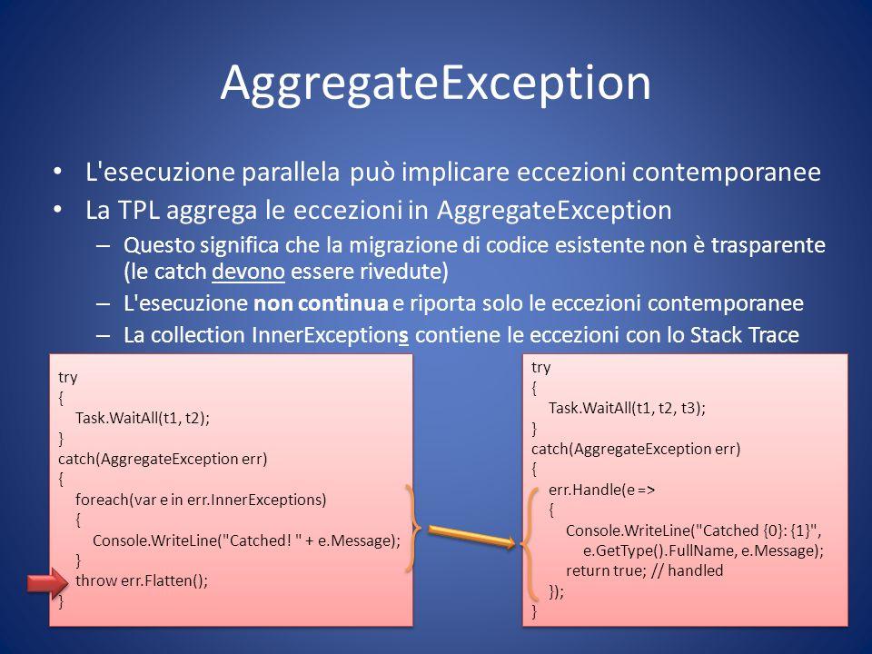 AggregateException L'esecuzione parallela può implicare eccezioni contemporanee La TPL aggrega le eccezioni in AggregateException – Questo significa c