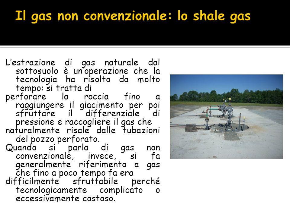 Lestrazione di gas naturale dal sottosuolo è unoperazione che la tecnologia ha risolto da molto tempo: si tratta di perforare la roccia fino a raggiun