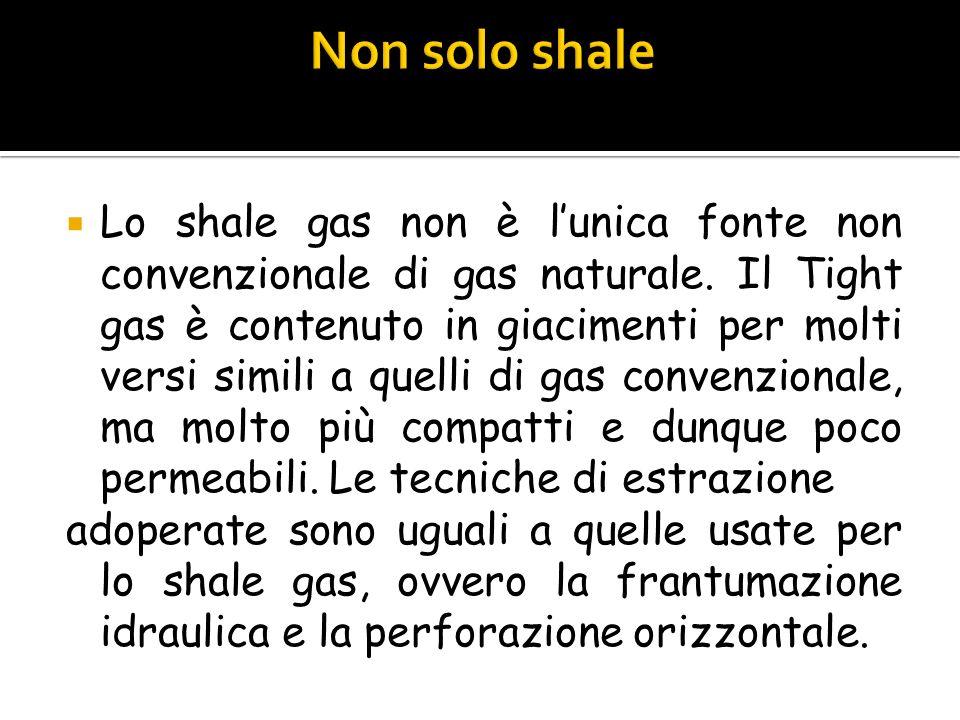 Lo shale gas non è lunica fonte non convenzionale di gas naturale. Il Tight gas è contenuto in giacimenti per molti versi simili a quelli di gas conve