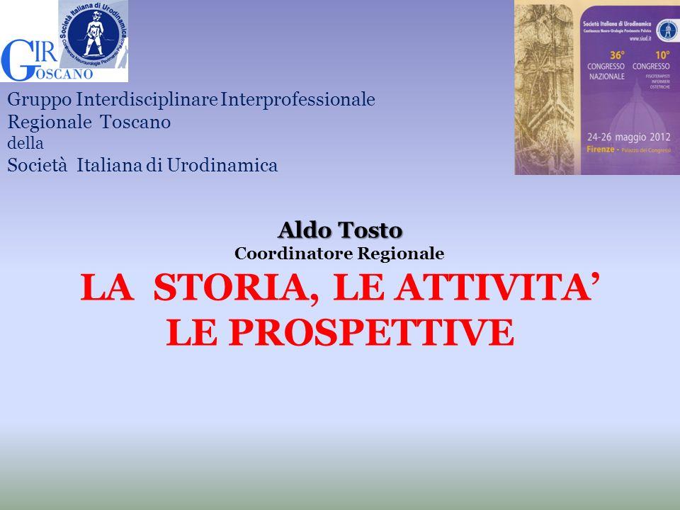 Aldo Tosto Coordinatore Regionale LA STORIA, LE ATTIVITA LE PROSPETTIVE Gruppo Interdisciplinare Interprofessionale Regionale Toscano della Società It
