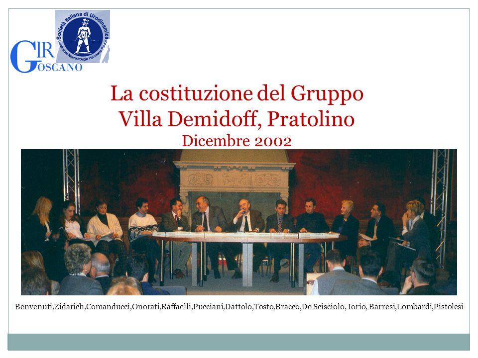 La costituzione del Gruppo Villa Demidoff, Pratolino Dicembre 2002 Benvenuti,Zidarich,Comanducci,Onorati,Raffaelli,Pucciani,Dattolo,Tosto,Bracco,De Sc