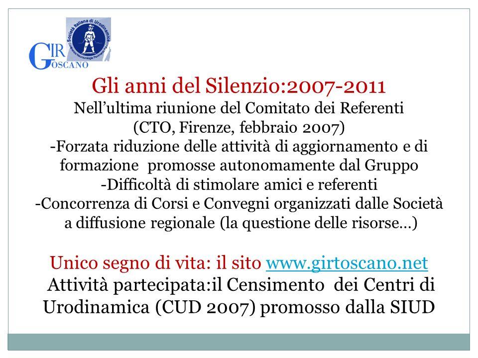 Gli anni del Silenzio:2007-2011 Nellultima riunione del Comitato dei Referenti (CTO, Firenze, febbraio 2007) -Forzata riduzione delle attività di aggi
