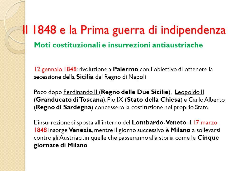 Il 1848 e la Prima guerra di indipendenza Moti costituzionali e insurrezioni antiaustriache 12 gennaio 1848: rivoluzione a Palermo con lobiettivo di o