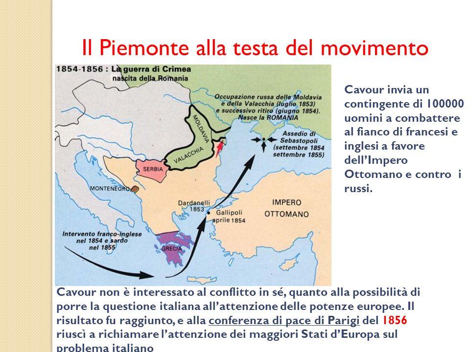 Il Piemonte alla testa del movimento Cavour invia un contingente di 100000 uomini a combattere al fianco di francesi e inglesi a favore dellImpero Ott