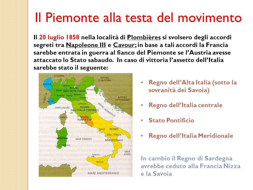 Il Piemonte alla testa del movimento Il 20 luglio 1858 nella località di Plombières si svolsero degli accordi segreti tra Napoleone III e Cavour; in b