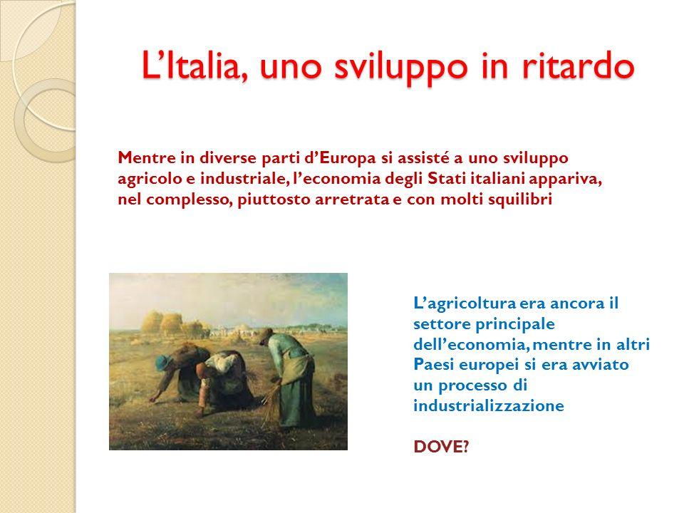 LItalia, uno sviluppo in ritardo Mentre in diverse parti dEuropa si assisté a uno sviluppo agricolo e industriale, leconomia degli Stati italiani appa