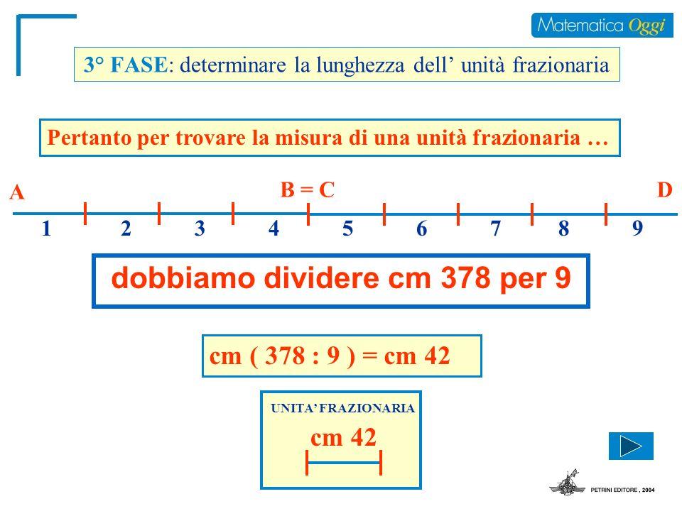 3° FASE: determinare la lunghezza dell unità frazionaria Pertanto per trovare la misura di una unità frazionaria … dobbiamo dividere cm 378 per 9 A B