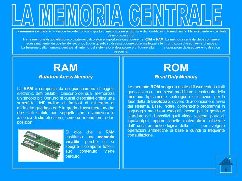 La memoria centrale è un dispositivo elettronico in grado di memorizzare istruzioni e dati codificati in forma binaria. Materialmente è costituita da