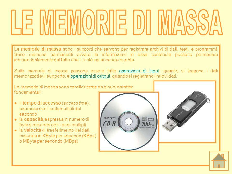 Le memorie di massa sono i supporti che servono per registrare archivi di dati, testi, e programmi. Sono memorie permanenti ovvero le informazioni in