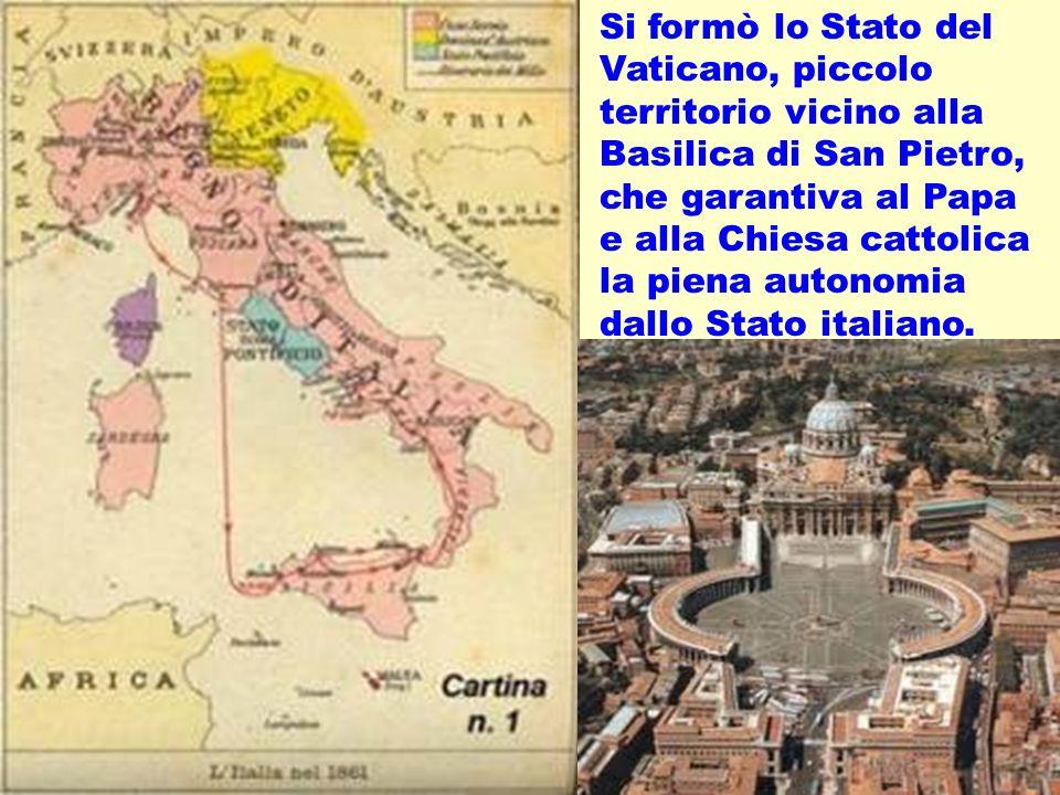 realizzazione a cura del maestro Gianni18 Si formò lo Stato del Vaticano, piccolo territorio vicino alla Basilica di San Pietro, che garantiva al Papa