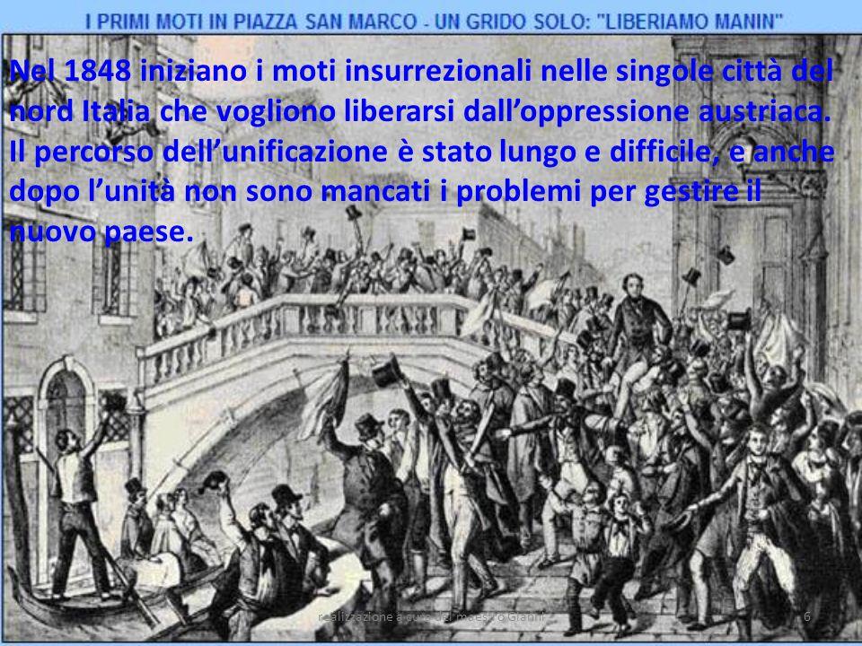 realizzazione a cura del maestro Gianni7 Per difendersi dalle polizie dei loro Stati, molti patrioti italiani si organizzarono in società segrete che avevano lo scopo di diffondere le idee di libertà e di suscitare insurrezioni popolari.