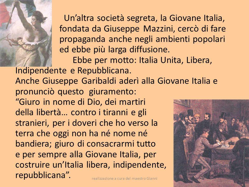 realizzazione a cura del maestro Gianni19 Il Risorgimento italiano era terminato.