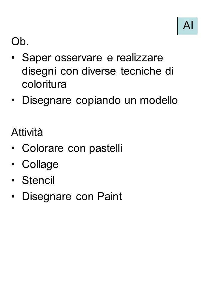 AI Ob. Saper osservare e realizzare disegni con diverse tecniche di coloritura Disegnare copiando un modello Attività Colorare con pastelli Collage St