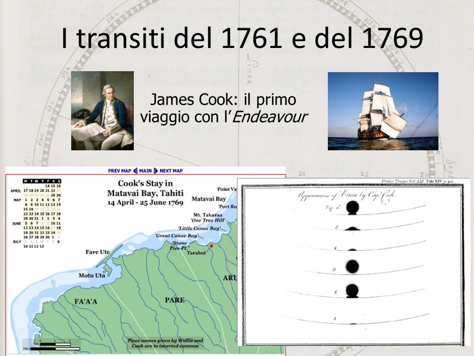 The South Seas Project James Cook: il primo viaggio con lEndeavour I transiti del 1761 e del 1769