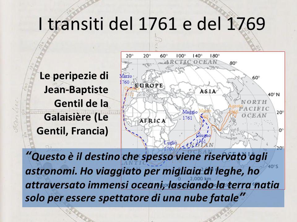 Le peripezie di Jean-Baptiste Gentil de la Galaisière (Le Gentil, Francia) Maggio 1761 Giugno 1761 Luglio 1760 Marzo 1760 Agosto 1766 Marzo 1768 Marzo 1770 Ottobre 1771 I transiti del 1761 e del 1769 Questo è il destino che spesso viene riservato agli astronomi.