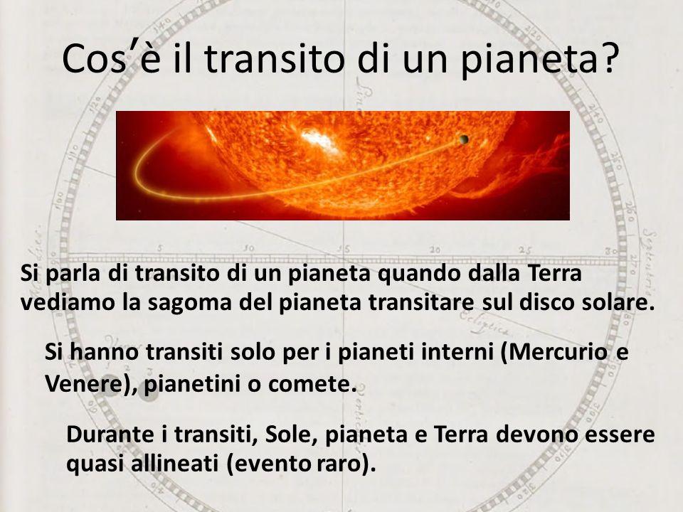 Cosè il transito di un pianeta? Durante i transiti, Sole, pianeta e Terra devono essere quasi allineati (evento raro). Si parla di transito di un pian