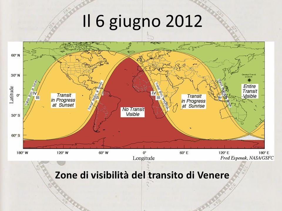 Zone di visibilità del transito di Venere Il 6 giugno 2012