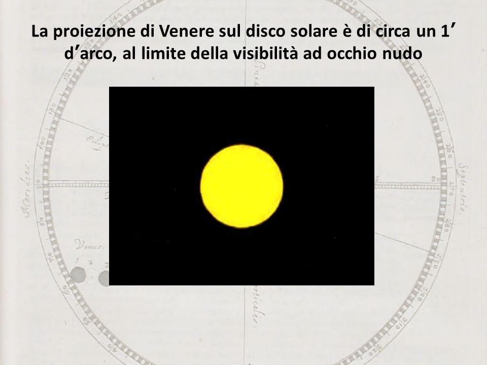 La proiezione di Venere sul disco solare è di circa un 1 darco, al limite della visibilità ad occhio nudo