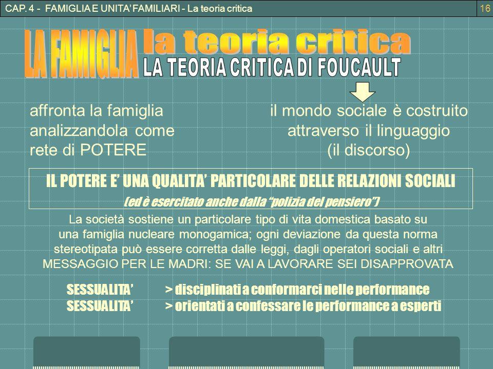 CAP. 4 - FAMIGLIA E UNITA FAMILIARI - La teoria critica il mondo sociale è costruito attraverso il linguaggio (il discorso) affronta la famiglia anali