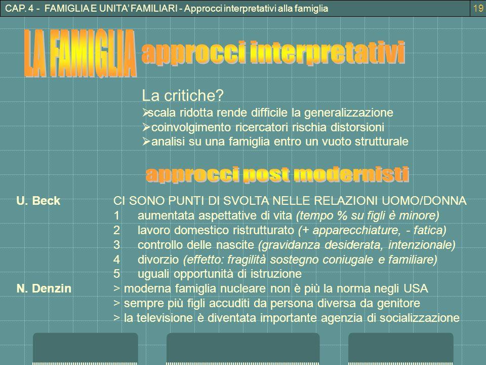 CAP.4 - FAMIGLIA E UNITA FAMILIARI - Approcci interpretativi alla famiglia La critiche.
