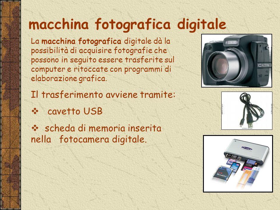 La macchina fotografica digitale dà la possibilità di acquisire fotografie che possono in seguito essere trasferite sul computer e ritoccate con progr
