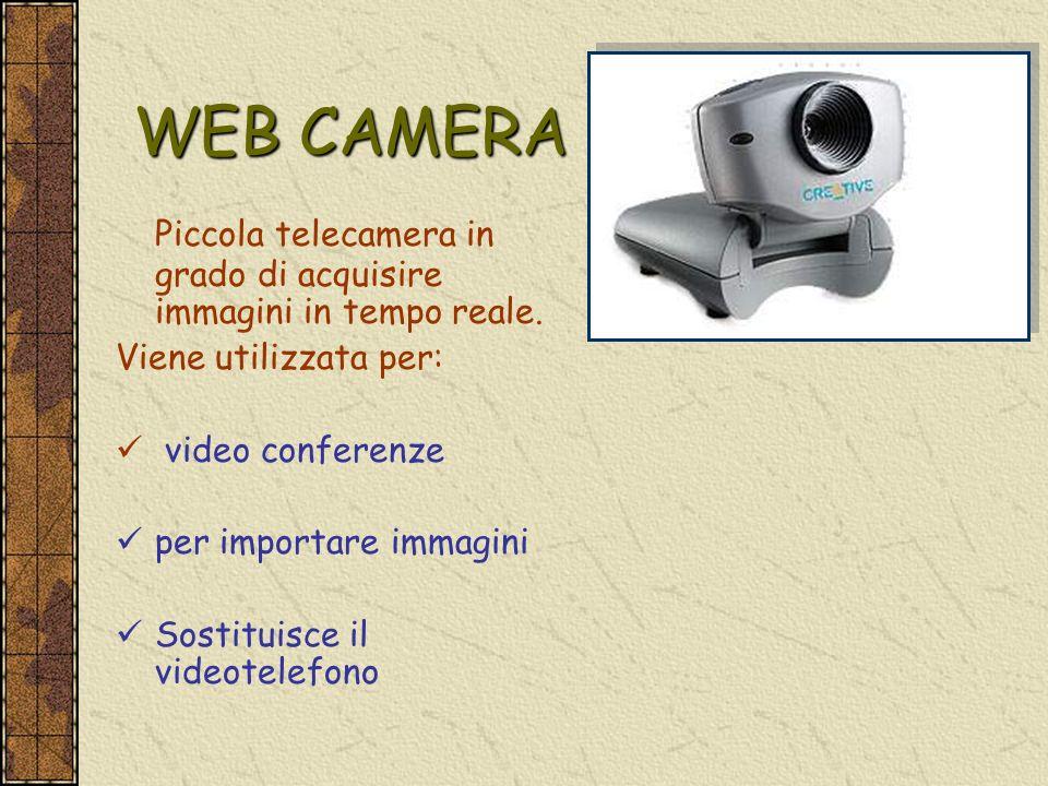 WEB CAMERA Piccola telecamera in grado di acquisire immagini in tempo reale. Viene utilizzata per: video conferenze per importare immagini Sostituisce
