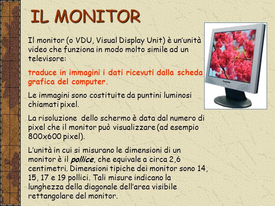 IL MONITOR Il monitor (o VDU, Visual Display Unit) è ununità video che funziona in modo molto simile ad un televisore: traduce in immagini i dati rice