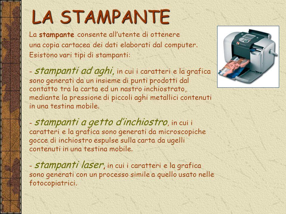 LA STAMPANTE La stampante consente allutente di ottenere una copia cartacea dei dati elaborati dal computer. Esistono vari tipi di stampanti: - stampa