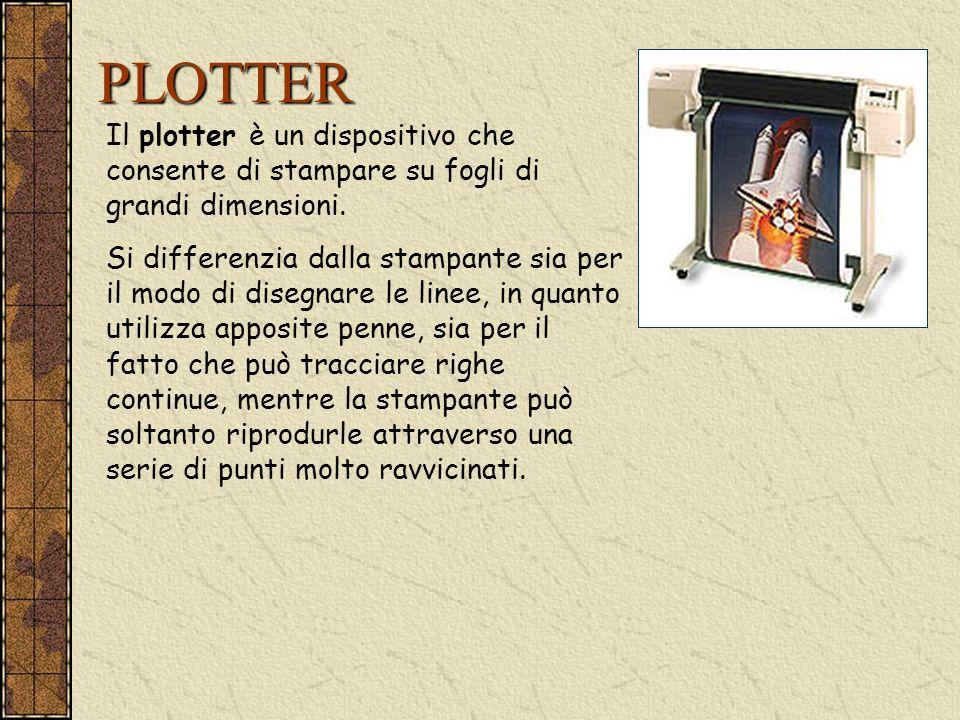 PLOTTER Il plotter è un dispositivo che consente di stampare su fogli di grandi dimensioni. Si differenzia dalla stampante sia per il modo di disegnar
