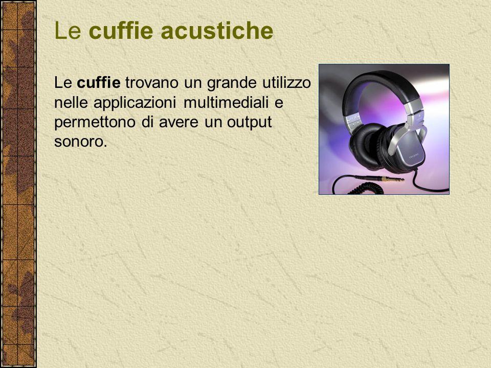 Le cuffie trovano un grande utilizzo nelle applicazioni multimediali e permettono di avere un output sonoro. Le cuffie acustiche