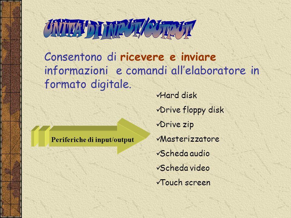Consentono di ricevere e inviare informazioni e comandi allelaboratore in formato digitale. Hard disk Drive floppy disk Drive zip Masterizzatore Sched