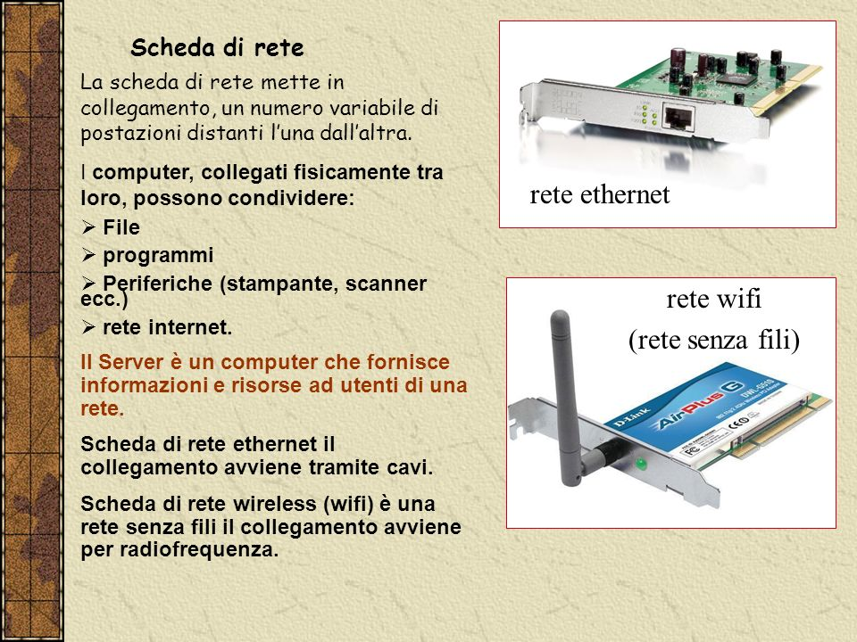 Scheda di rete rete ethernet rete wifi (rete senza fili) La scheda di rete mette in collegamento, un numero variabile di postazioni distanti luna dall