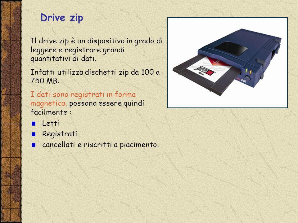 Drive zip Il drive zip è un dispositivo in grado di leggere e registrare grandi quantitativi di dati. Infatti utilizza dischetti zip da 100 a 750 MB.