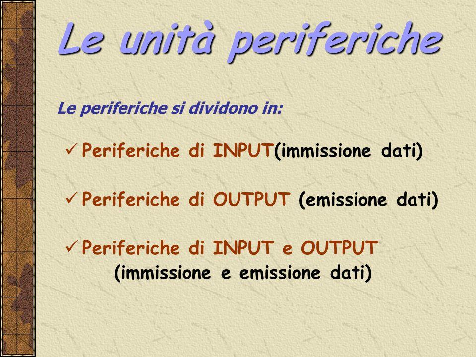 Periferiche di INPUT(immissione dati) Periferiche di OUTPUT (emissione dati) Periferiche di INPUT e OUTPUT (immissione e emissione dati) Le periferich