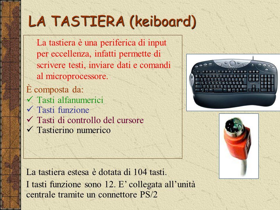 LA TASTIERA (keiboard) La tastiera è una periferica di input per eccellenza, infatti permette di scrivere testi, inviare dati e comandi al microproces
