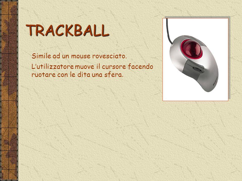 TRACKBALL TRACKBALL Simile ad un mouse rovesciato. Lutilizzatore muove il cursore facendo ruotare con le dita una sfera.
