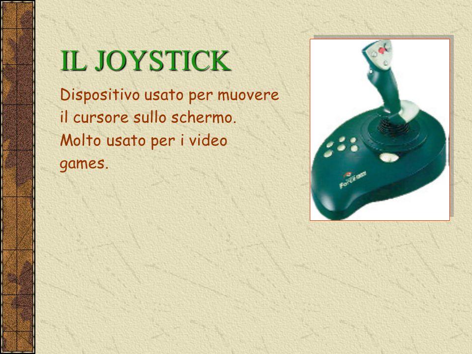 IL JOYSTICK Dispositivo usato per muovere il cursore sullo schermo. Molto usato per i video games.