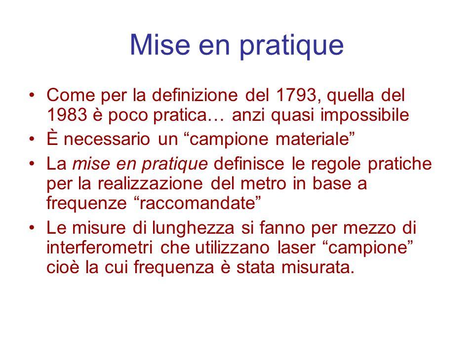 Mise en pratique Come per la definizione del 1793, quella del 1983 è poco pratica… anzi quasi impossibile È necessario un campione materiale La mise e