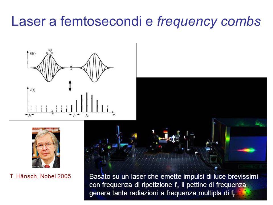 Laser a femtosecondi e frequency combs T. Hänsch, Nobel 2005 Basato su un laser che emette impulsi di luce brevissimi con frequenza di ripetizione f r