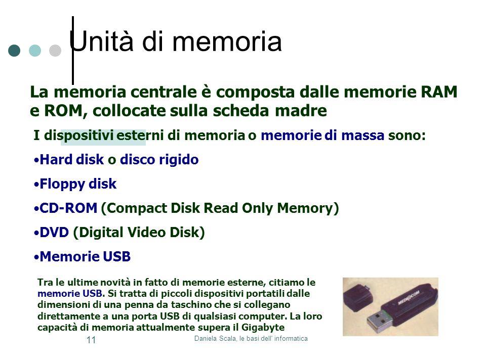 Daniela Scala, le basi dell informatica 11 La memoria centrale è composta dalle memorie RAM e ROM, collocate sulla scheda madre I dispositivi esterni di memoria o memorie di massa sono: Hard disk o disco rigido Floppy disk CD-ROM (Compact Disk Read Only Memory) DVD (Digital Video Disk) Memorie USB Tra le ultime novità in fatto di memorie esterne, citiamo le memorie USB.