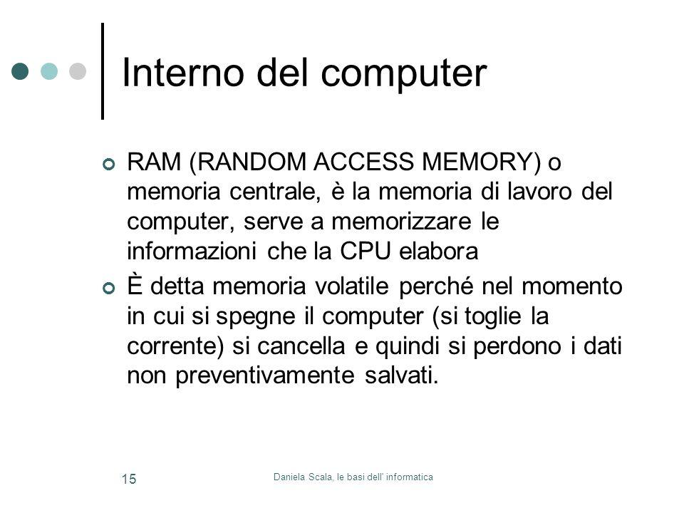 Daniela Scala, le basi dell' informatica 15 Interno del computer RAM (RANDOM ACCESS MEMORY) o memoria centrale, è la memoria di lavoro del computer, s