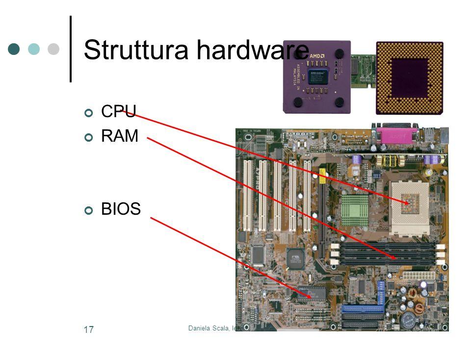 Daniela Scala, le basi dell' informatica 17 Struttura hardware CPU RAM BIOS