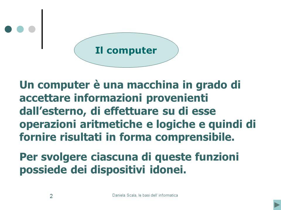 Daniela Scala, le basi dell' informatica 2 Il computer Un computer è una macchina in grado di accettare informazioni provenienti dallesterno, di effet