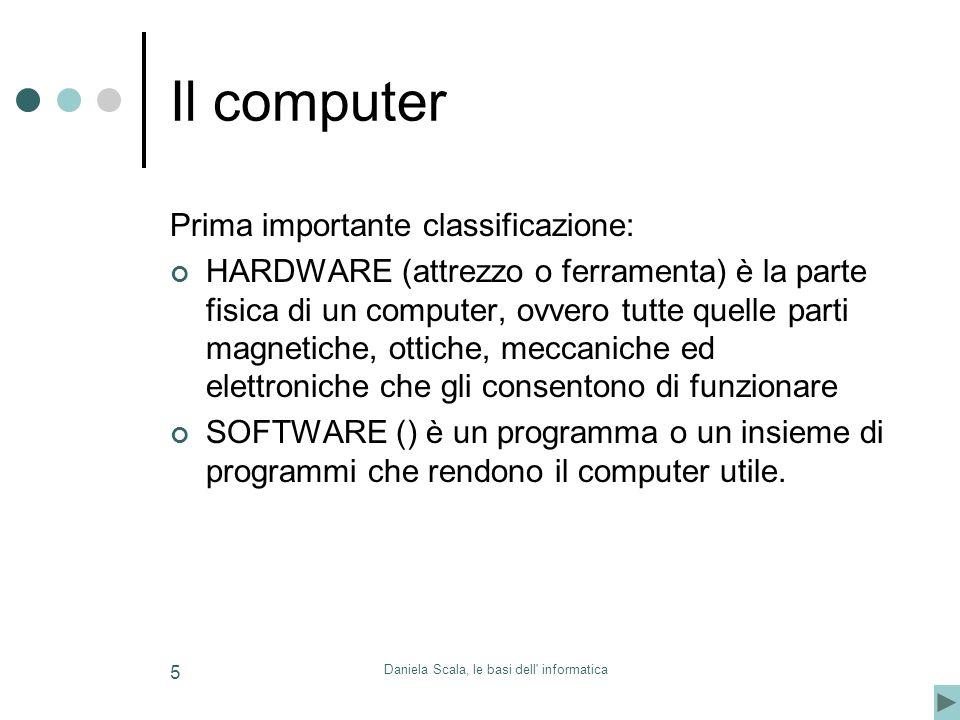 Daniela Scala, le basi dell' informatica 5 Il computer Prima importante classificazione: HARDWARE (attrezzo o ferramenta) è la parte fisica di un comp