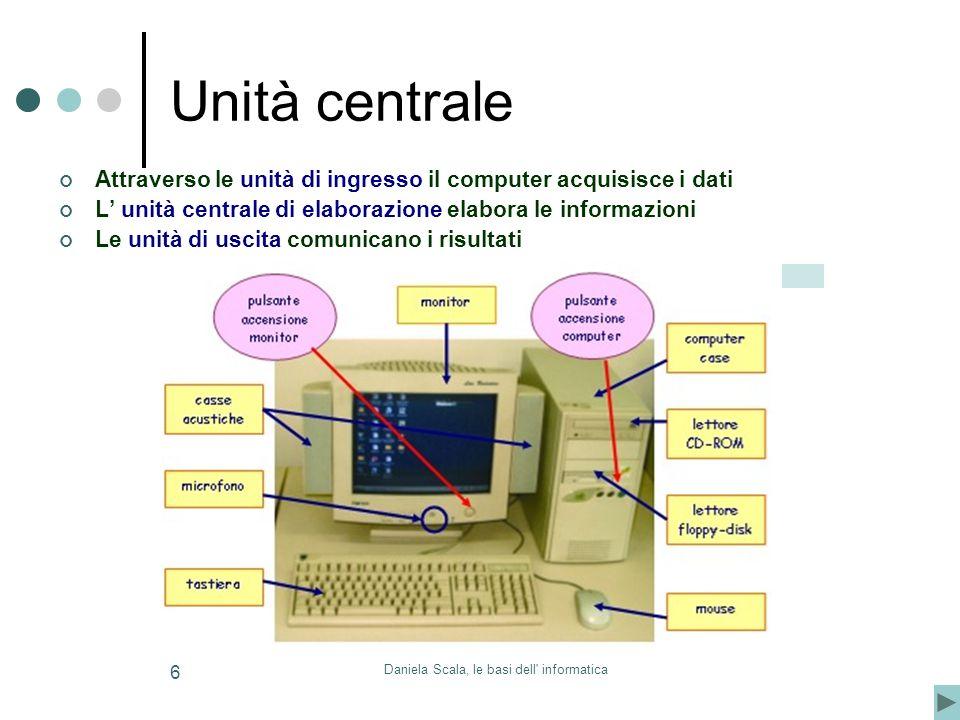 Daniela Scala, le basi dell informatica 6 Unità centrale Attraverso le unità di ingresso il computer acquisisce i dati L unità centrale di elaborazione elabora le informazioni Le unità di uscita comunicano i risultati