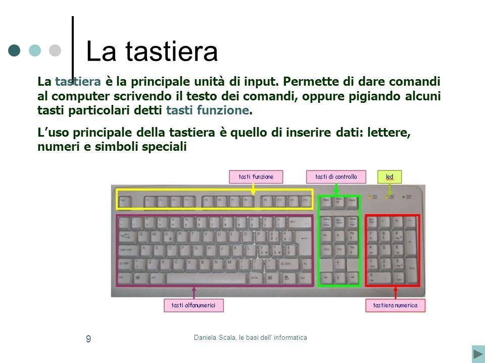 Daniela Scala, le basi dell' informatica 9 La tastiera è la principale unità di input. Permette di dare comandi al computer scrivendo il testo dei com