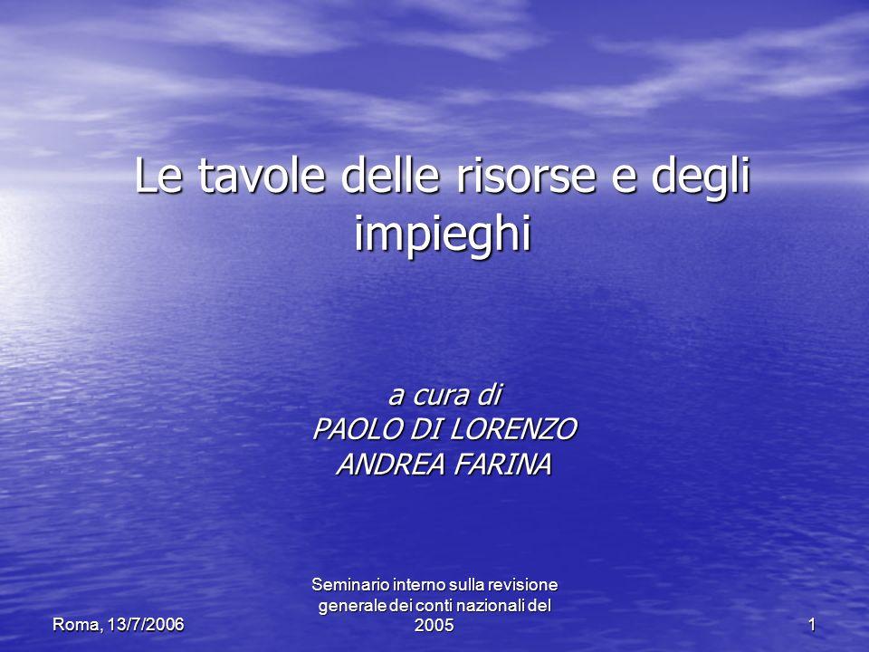 Roma, 13/7/2006 Seminario interno sulla revisione generale dei conti nazionali del 20051 Le tavole delle risorse e degli impieghi a cura di PAOLO DI L