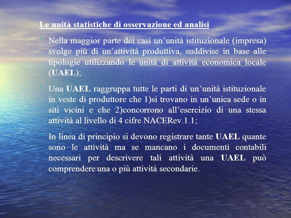 3 Linsieme di tutte le UAEL che esercitano la stessa attività o unattività di tipo simile allinterno di unimpresa costituisce una UAE.